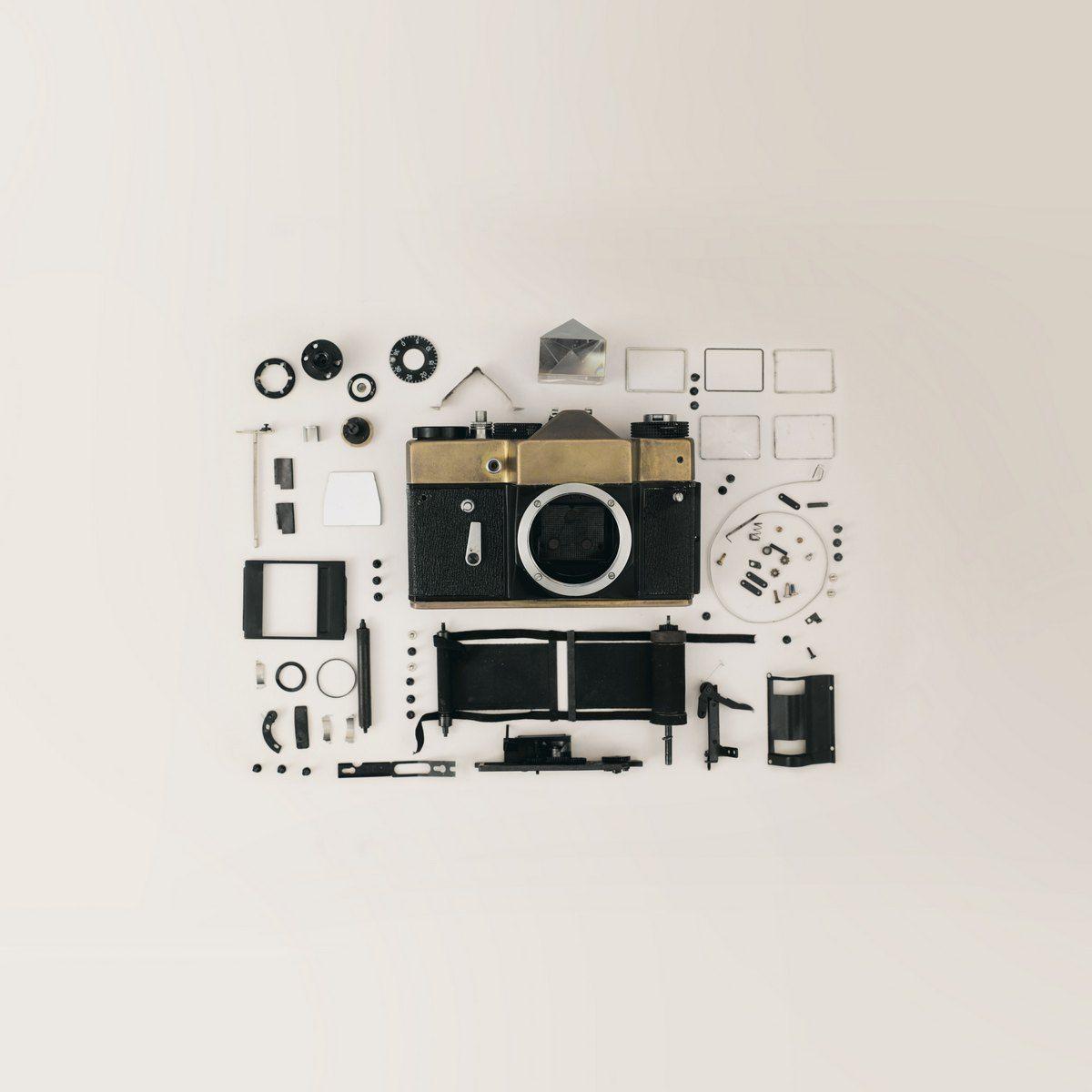 rasklopljen fotoaparat